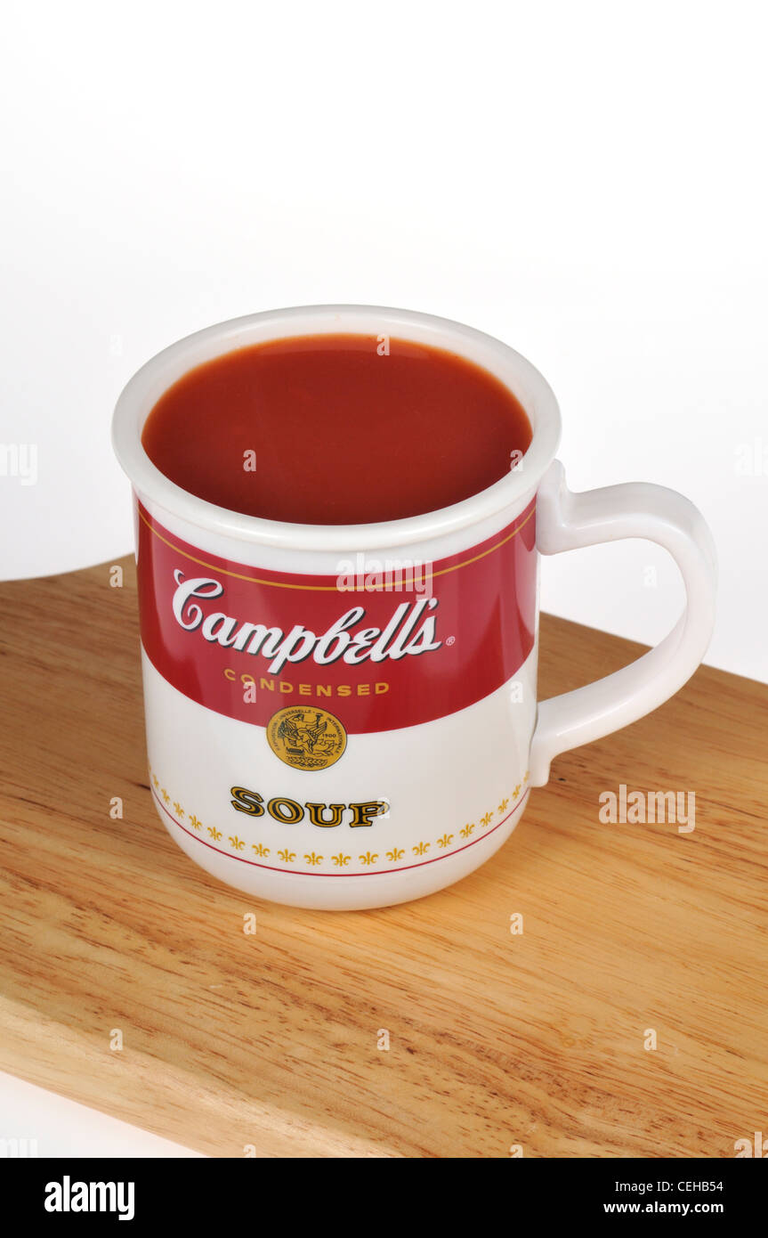 Cup of Campbell\'s tomato soup in a Campbells soup mug on white Stock ...