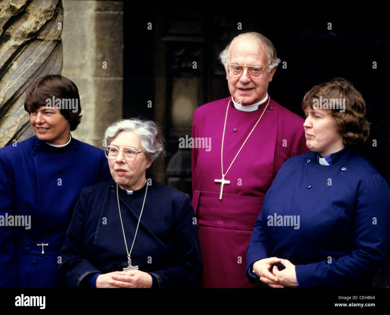 Archbishop Runcie with newly ordained women priests at Canterbury - Stock Image