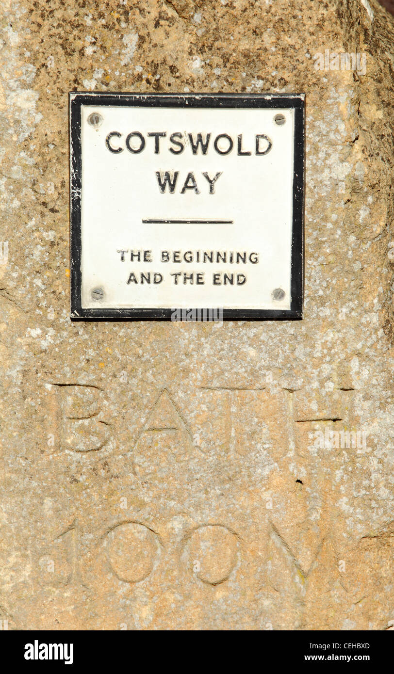 Sign at the start and end of the Cotswold Way in Chipping Campden, Gloucestershire, a picturesque and pretty Cotswold - Stock Image