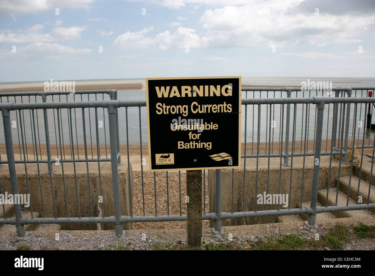 Warning Strong Currents Unsuitable for Bathing, Felixstowe, Suffolk, UK - Stock Image
