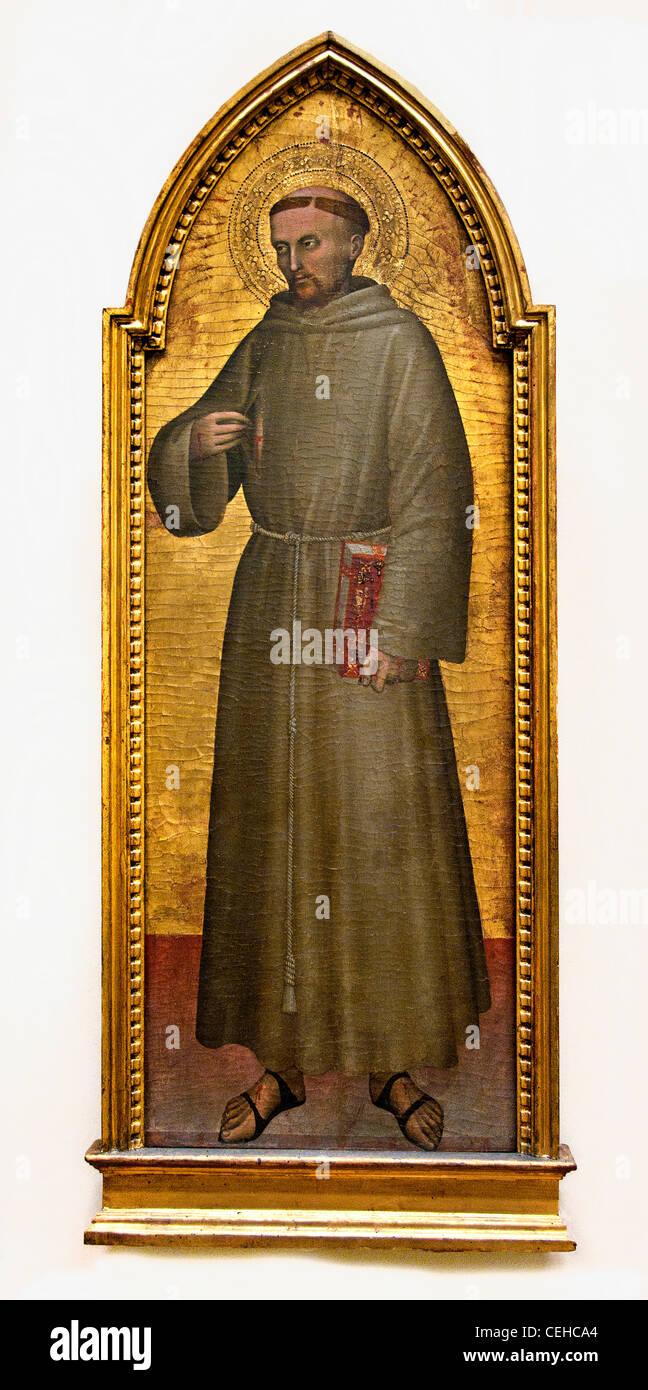 St. Francis of Assisi - Saint Francois d Assise 1360 Giovanni da Milano Italian Stock Photo
