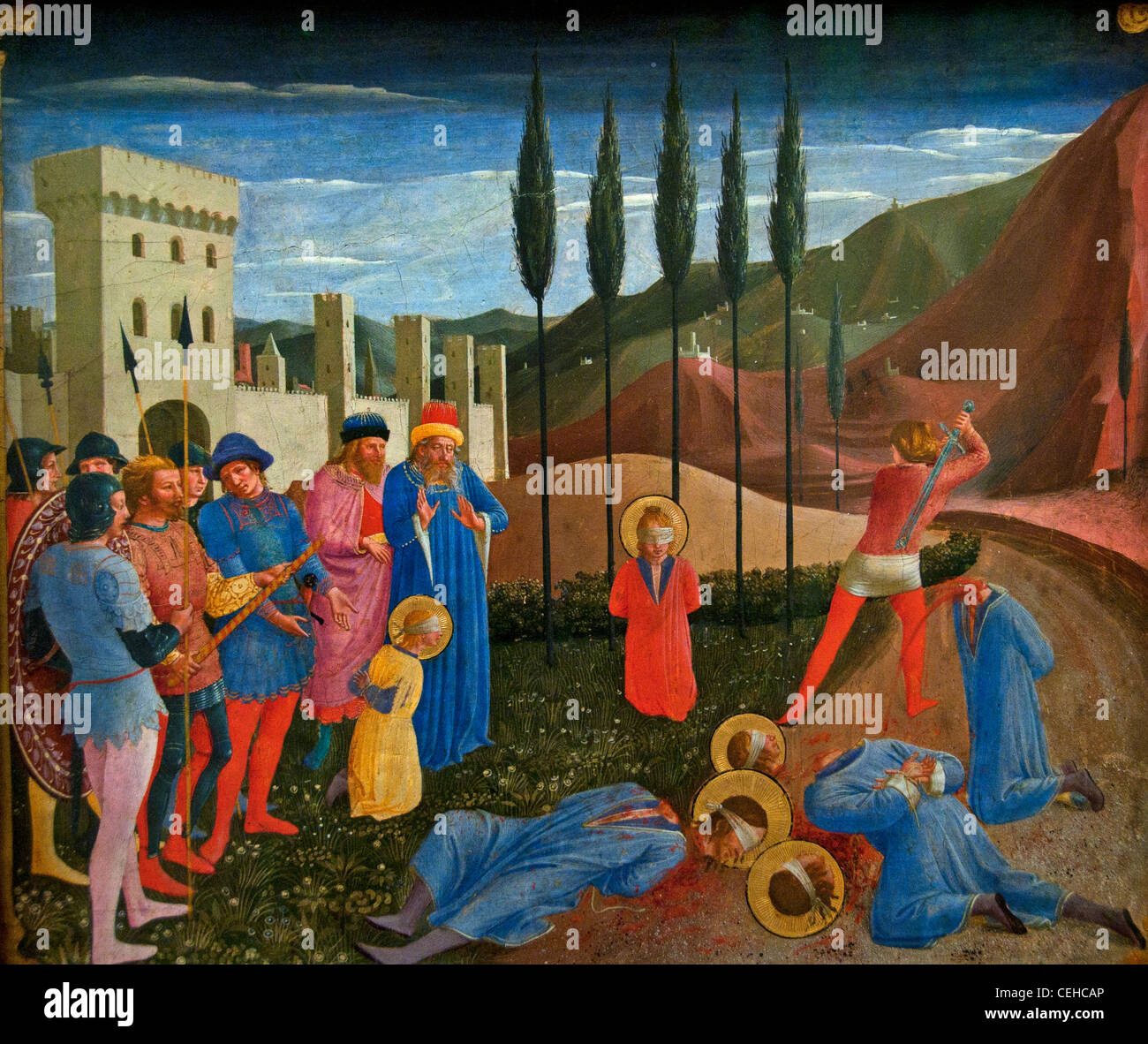 The martyrdom of Saints Cosmas and Damian - Le martyre des saints Cosme et Damien 1438 FRA ANGELICO Guido di Pietro - Stock Image