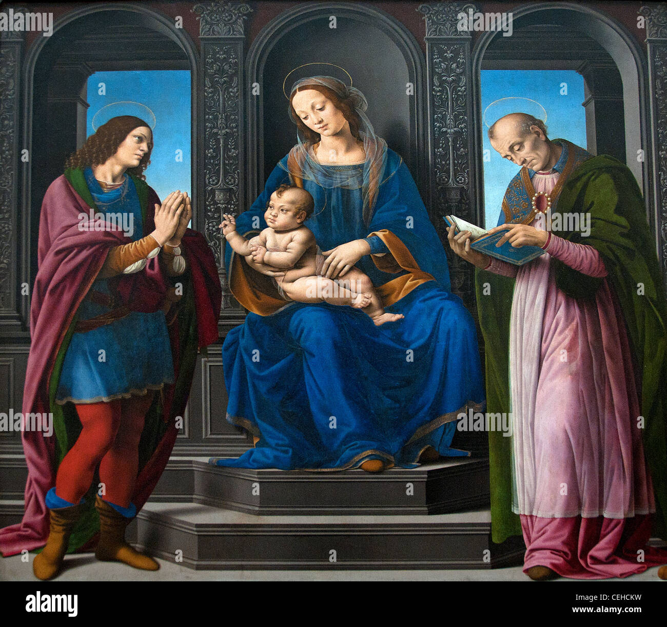 The Virgin and Child between St. Julien and Nicolas of Myra 1494 by Lorenzo di Credi Italy Italian - Stock Image