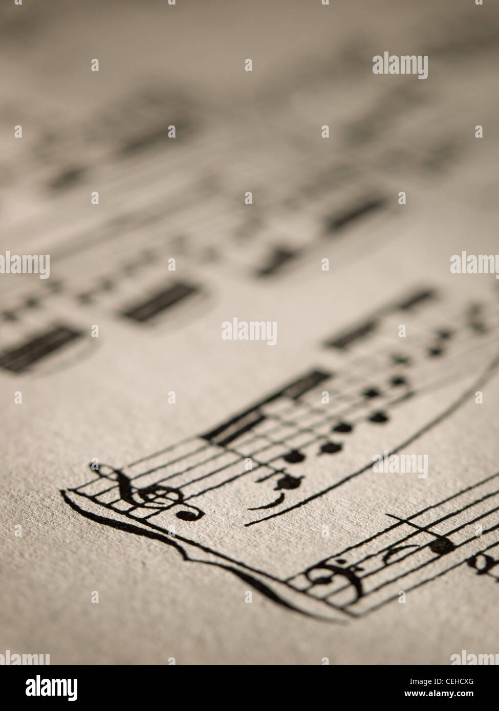Sheet of music notes,closeup, for music,melody themes - Stock Image