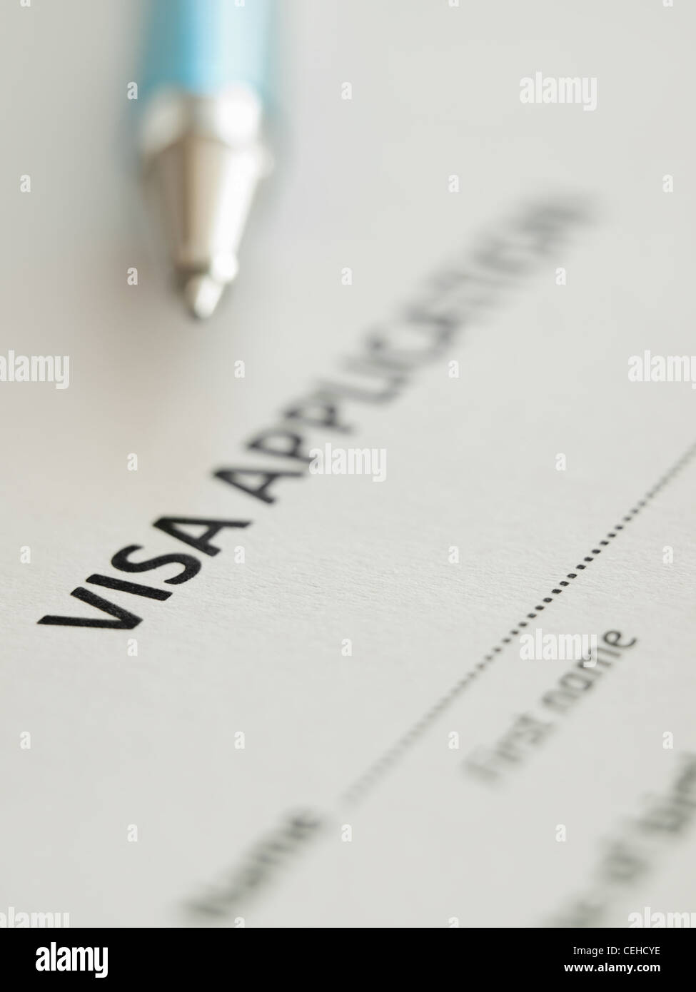 VIsa application form with pen, shallow DOF,for immigration,travel,social issues themes Stock Photo