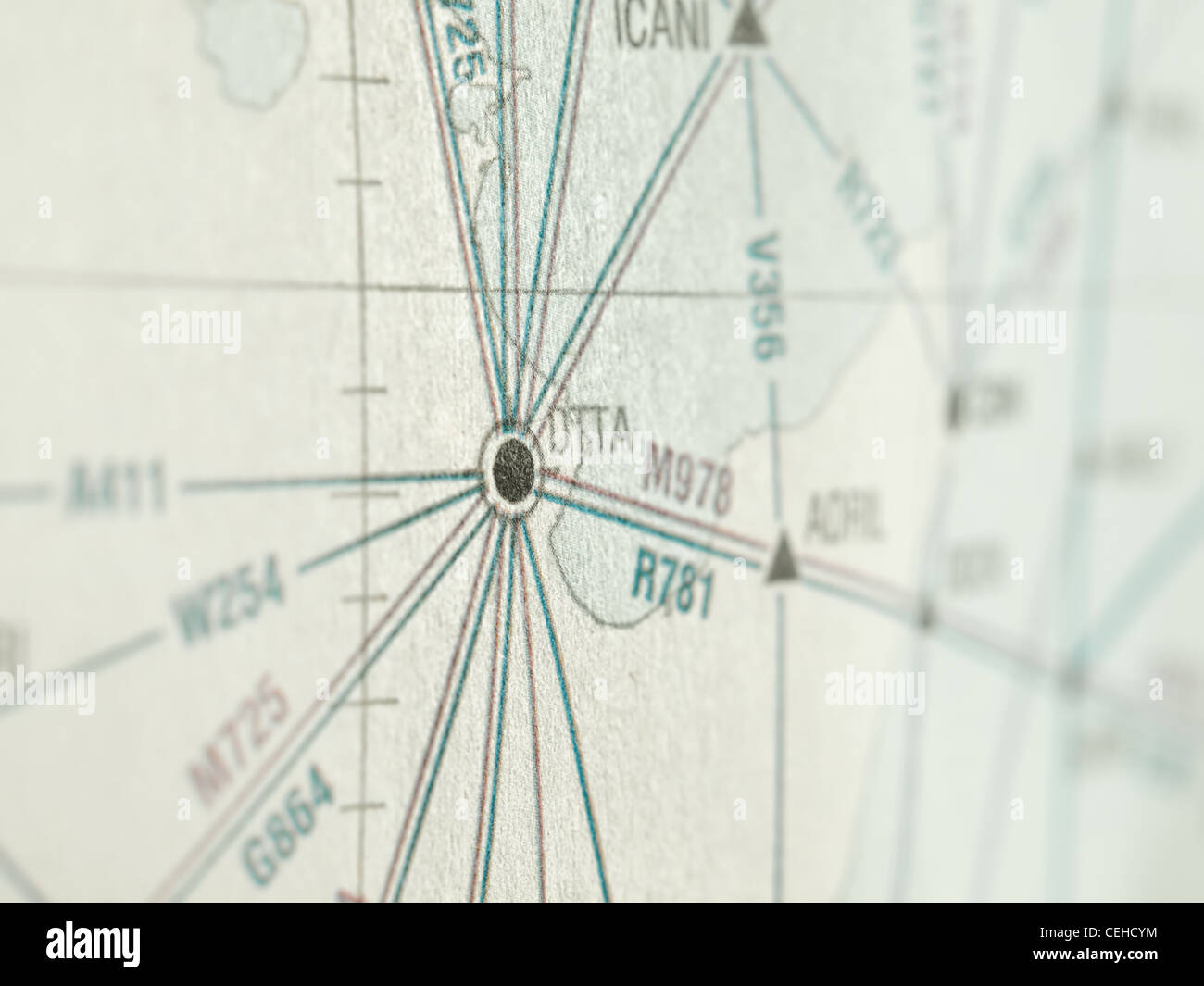 Way point on the aeronautical map,shallow DOF,for travel,navigation,exploration themes - Stock Image