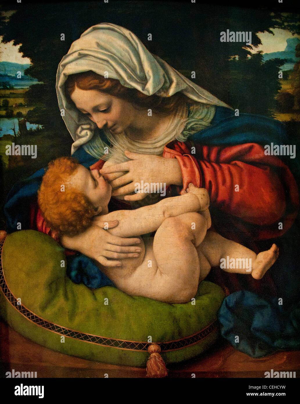 La Vierge au coussin vert by Solario - The Virgin Green Cushion by Solario - Andrea di Bartolo 1465 - 1524 Italian - Stock Image