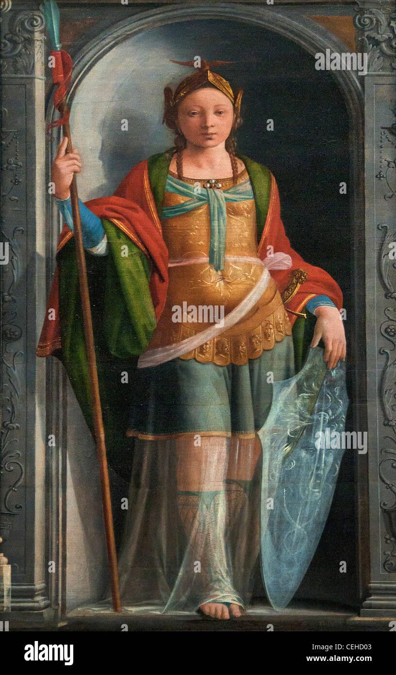 Minerve Minerva 1490 by Fra Bartolomeo - Baccio della Porta 1473 - 1517 Italian Italy - Stock Image