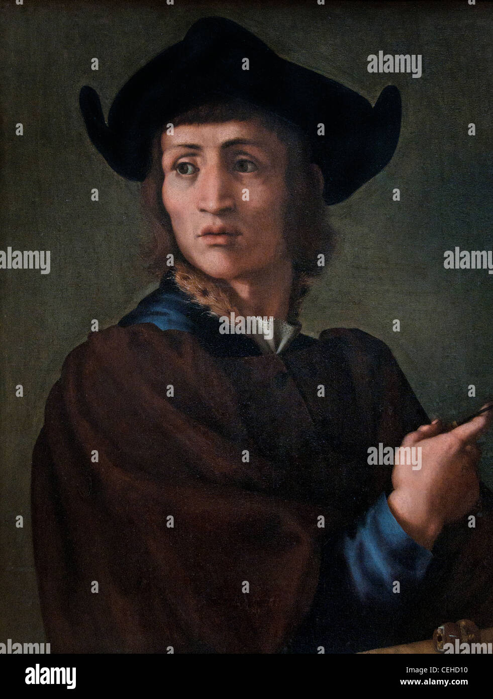 Portrait d un graveur en pierres fines - engraver in gemstones by Il Pontormo  Jacopo Carruci 1494 - 1556 Italian - Stock Image