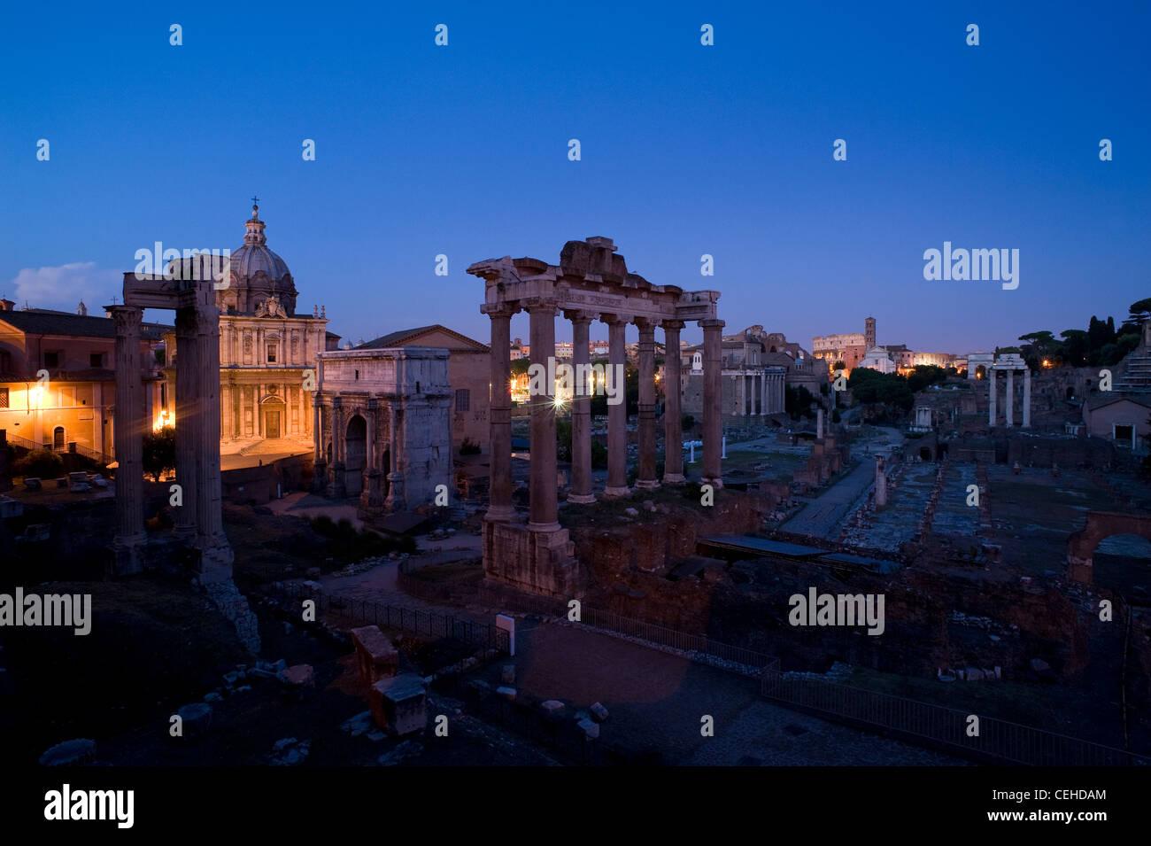 Roman Forum in the evening light, Rome, Latium, Italy - Stock Image