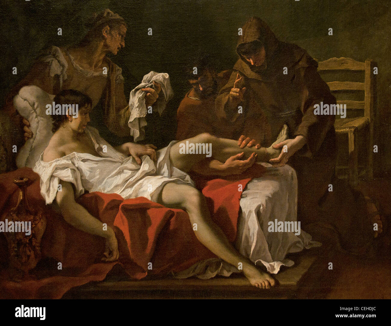 Saint of Padua healing a young man who had his foot amputated  1690 Anthony Sebastiano Ricci Antoine 1659-1734 Italy Stock Photo