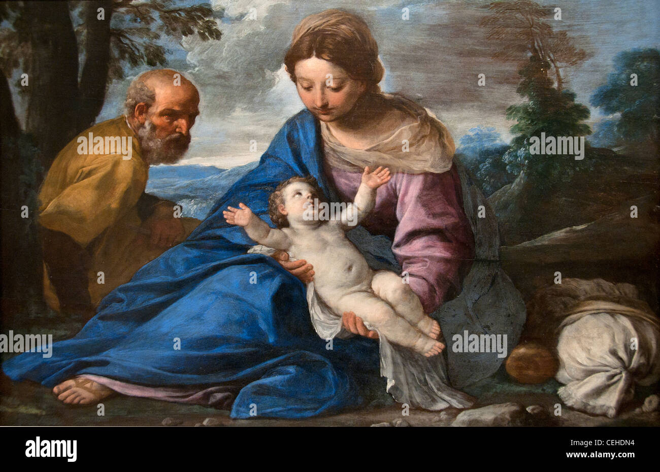 Rest on the Flight into Egypt - Le Repos pendant la fuite en Egypt 1635 Simone Cantarini Italy Italian - Stock Image