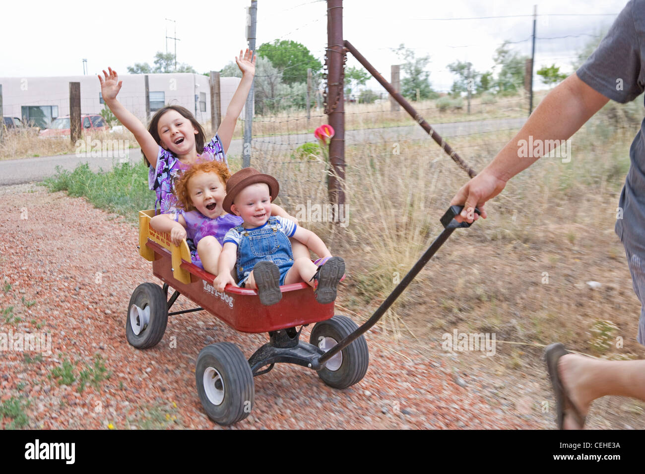 Three children being pulled in a wagon, screaming with excitement. - Stock Image