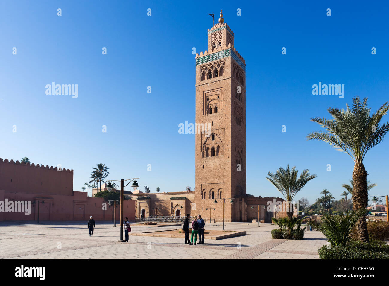 The minaret of the Koutoubia Mosque, Marrakech, Morocco, North Africa - Stock Image