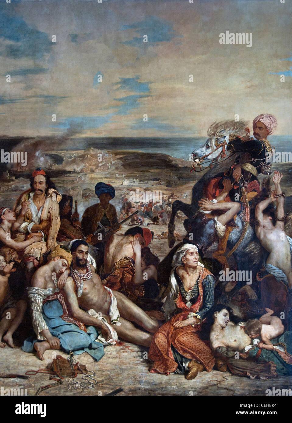 The Massacre at Chios  Scène des massacres de Scio 1824 Eugène Delacroix - Stock Image