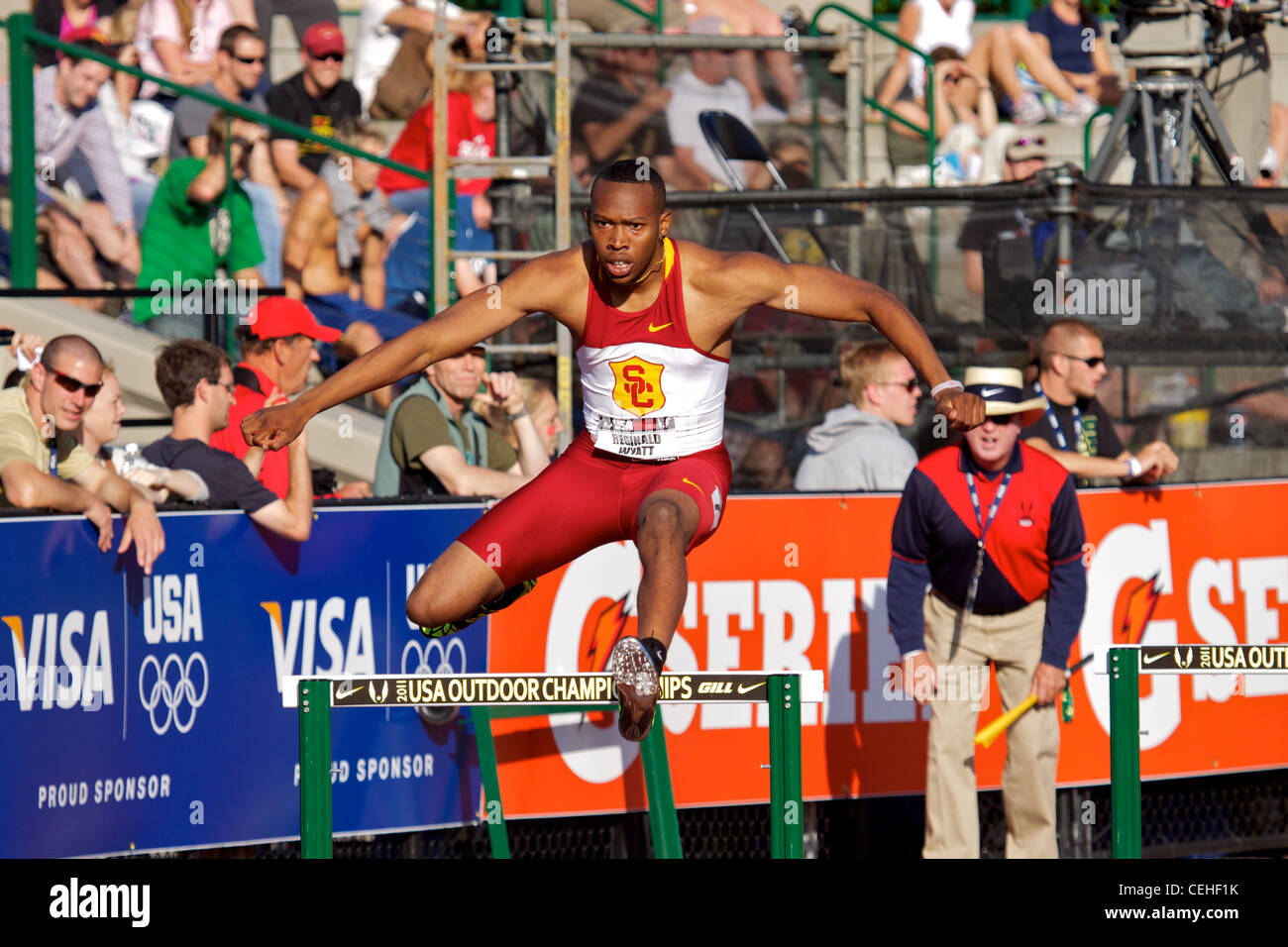 Reginald Wyatt 400m hurdles image taken from the crowd at the 2011 USATF nationals Hayward Field Eugene Oregon - Stock Image
