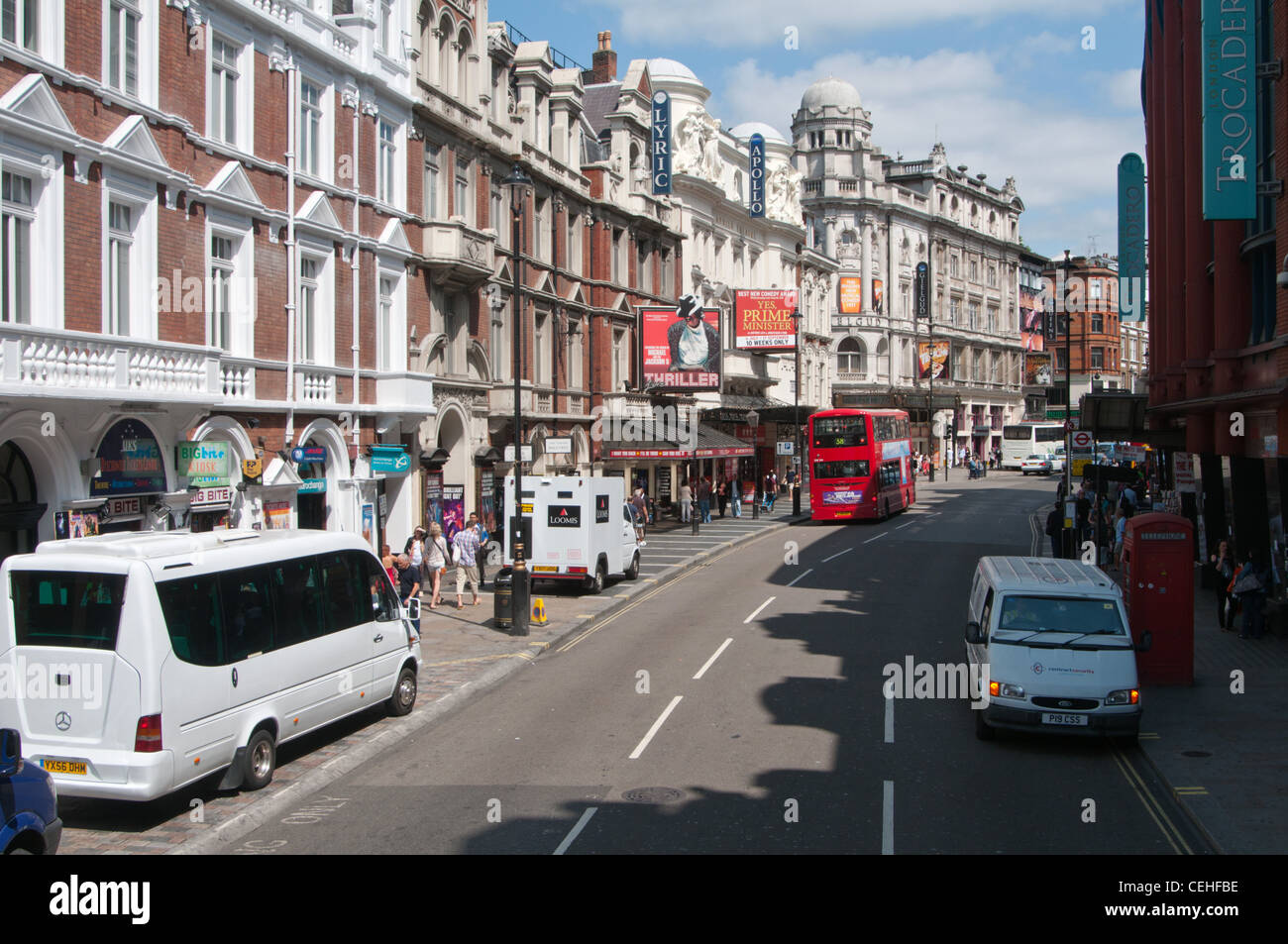 Shaftesbury Avenue in the London theatreland. - Stock Image