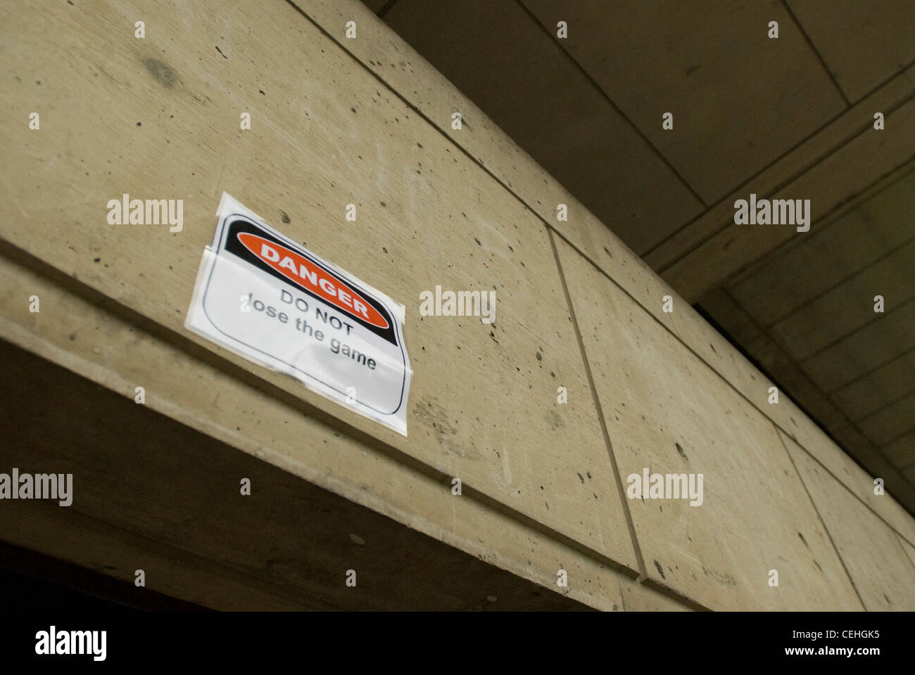 Hackers put up 130 humorous 'DANGER' signs around the Massachusetts Institute of Technology campus on May - Stock Image