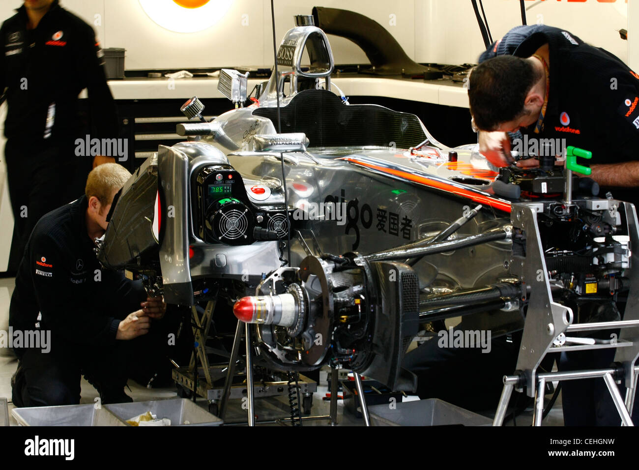 Mclaren F1 team at the Silverstone GP - Stock Image