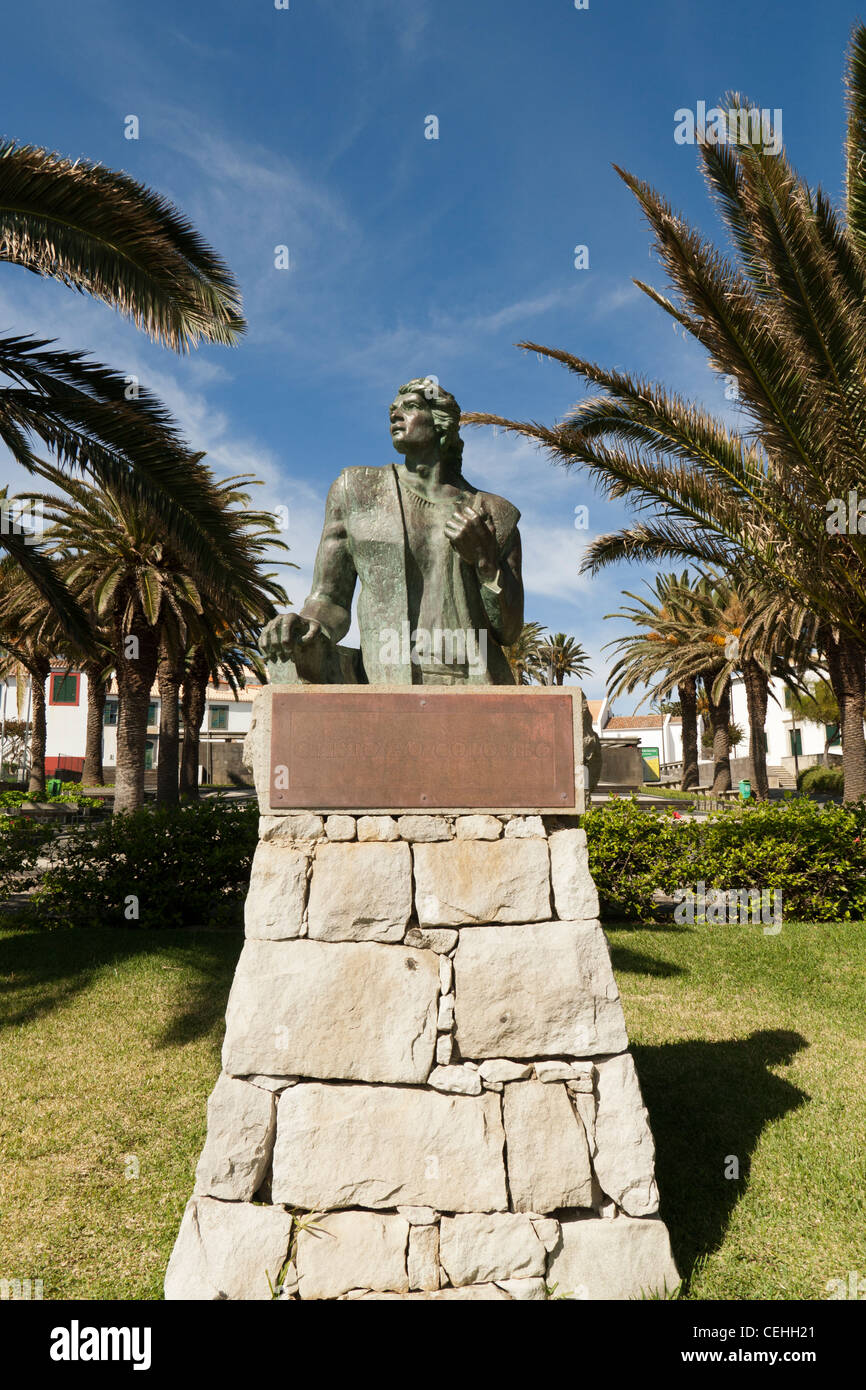 Statue of Christopher Columbus, Porto Santo, Portugal - Stock Image