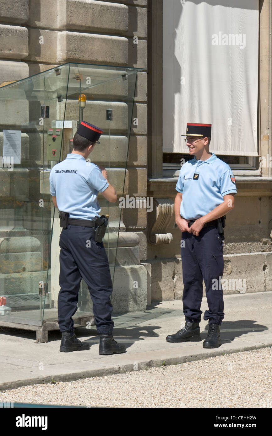 Two policemen belonging to the Gendarmerie, France - Stock Image