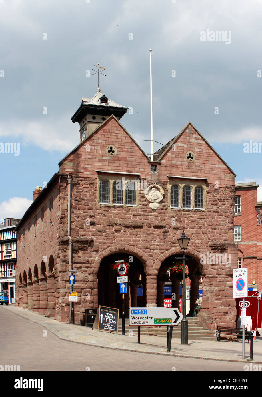 The Market House - Ross on Wye. Built between 1650 and 1654 replacing the older, probably wooden Booth Hall. The Stock Photo