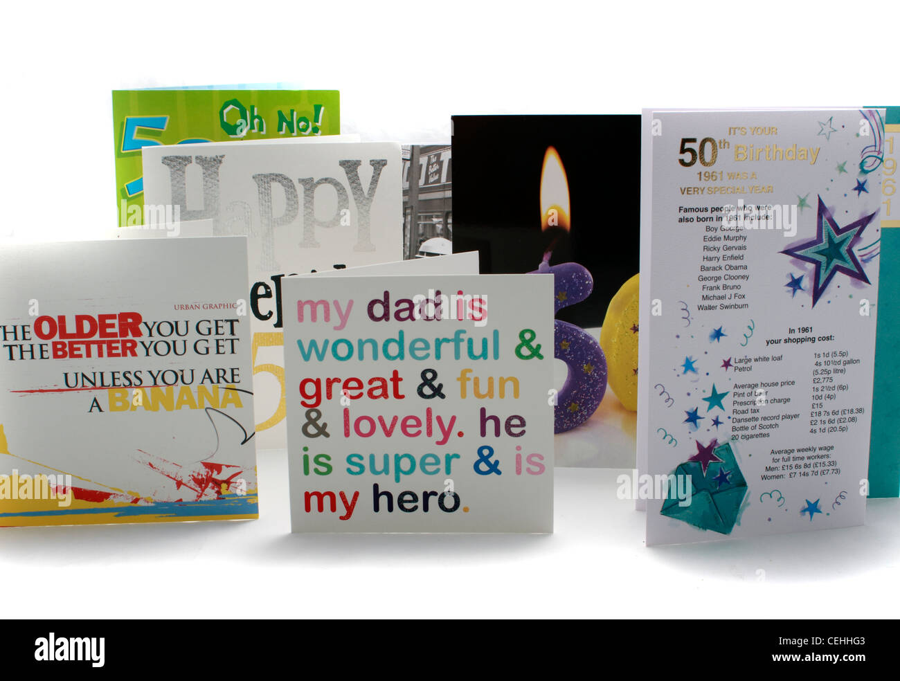 A selection of 50th birthday cards - commemoration - Stock Image