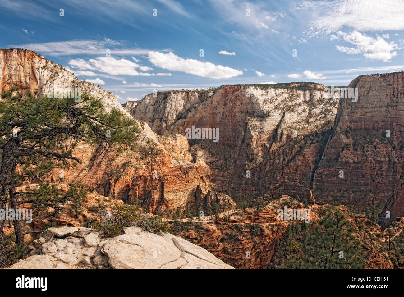Clouds float above Scout Landing and the West Rim Trail with the Great White Throne monolith in Utah's Zion National Stock Photo