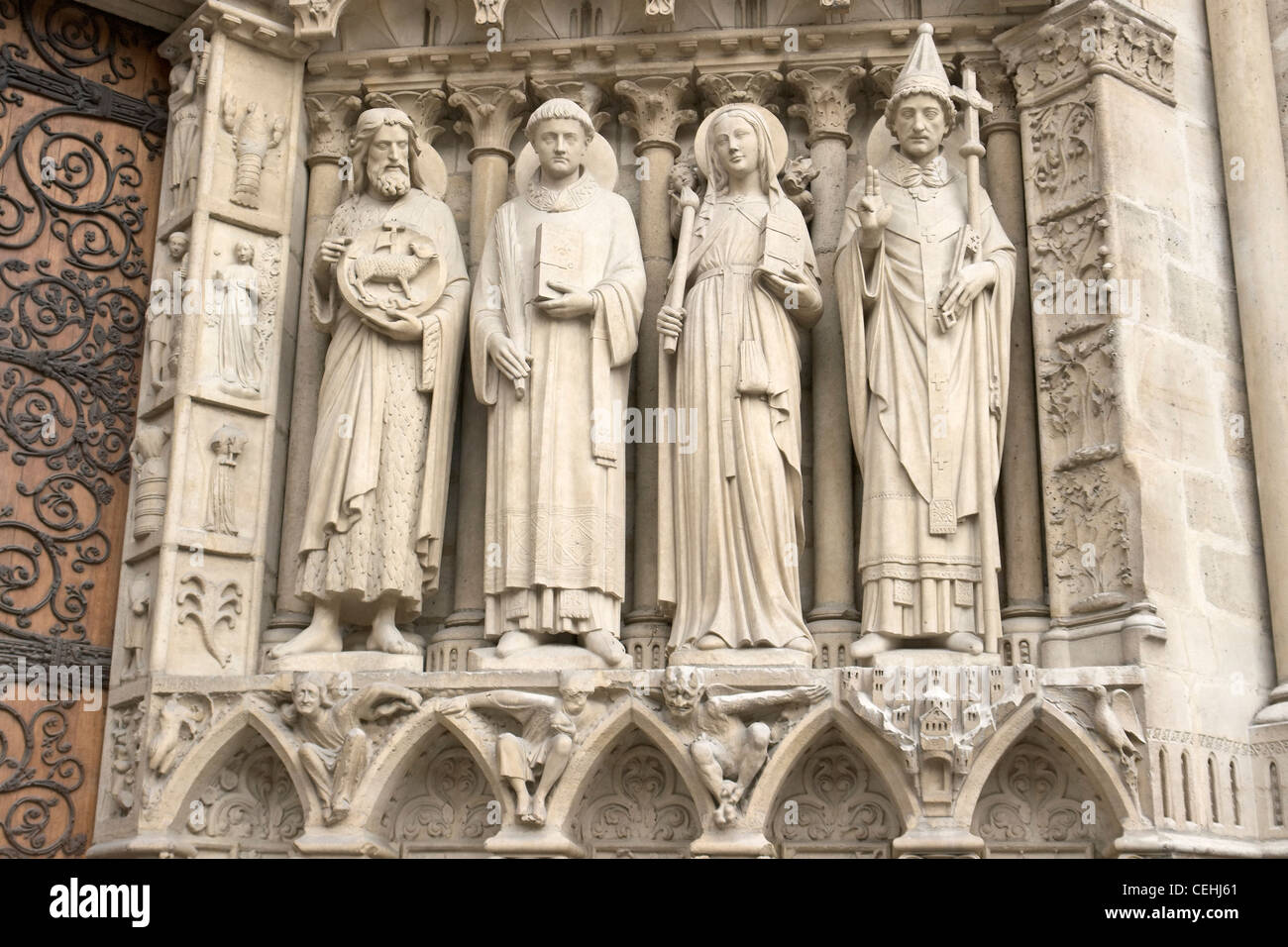 Saint John the Baptist, Saint Stephen, Sainte Genevieve, and Saint Sylvester - Stock Image