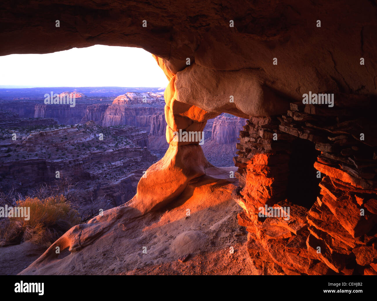 Anasazi ruins on Aztec Butte in Island in the Sky district of Canyonlands National Park, Utah, USA - Stock Image