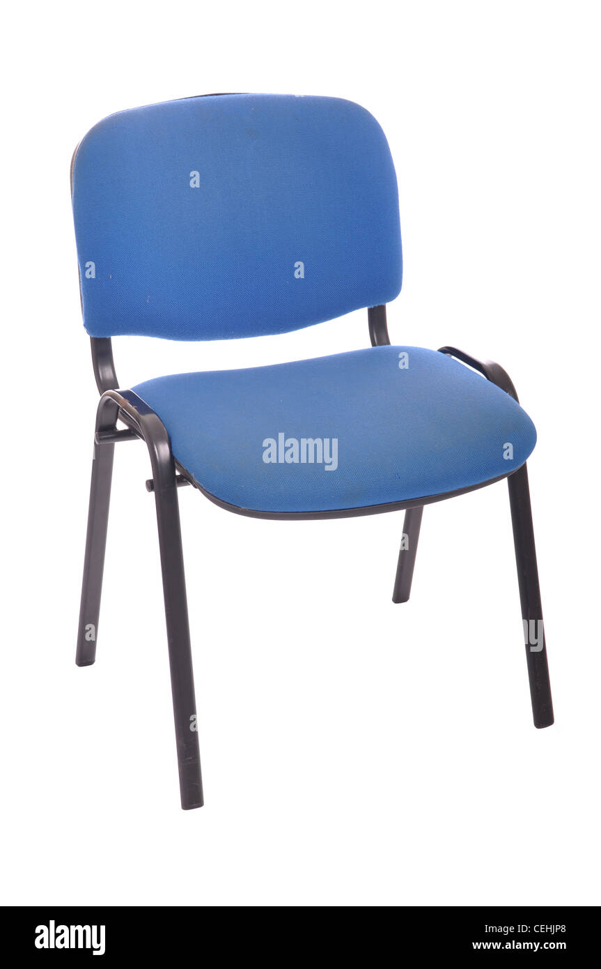 blue office chair isolated on white background - Stock Image