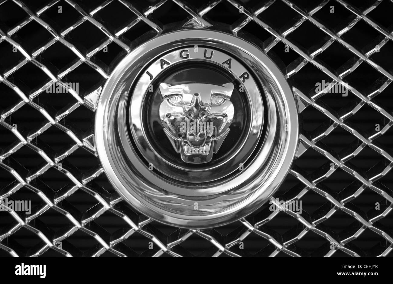 Jaguar Logo On The Car Stainless Steel Radiator Stock Photo