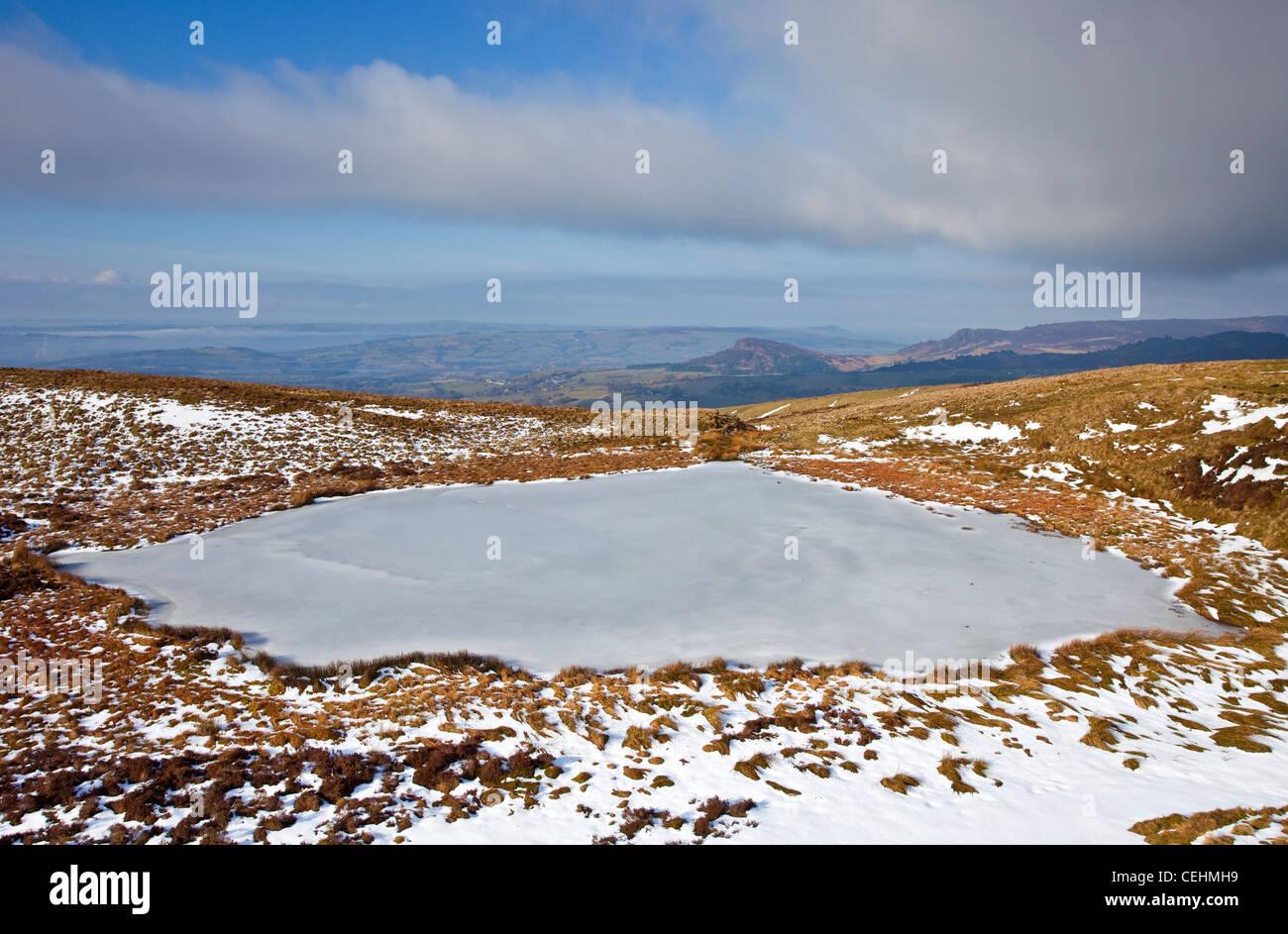 Winter on Peak District National Park Staffordshire Moorlands England UK - Stock Image