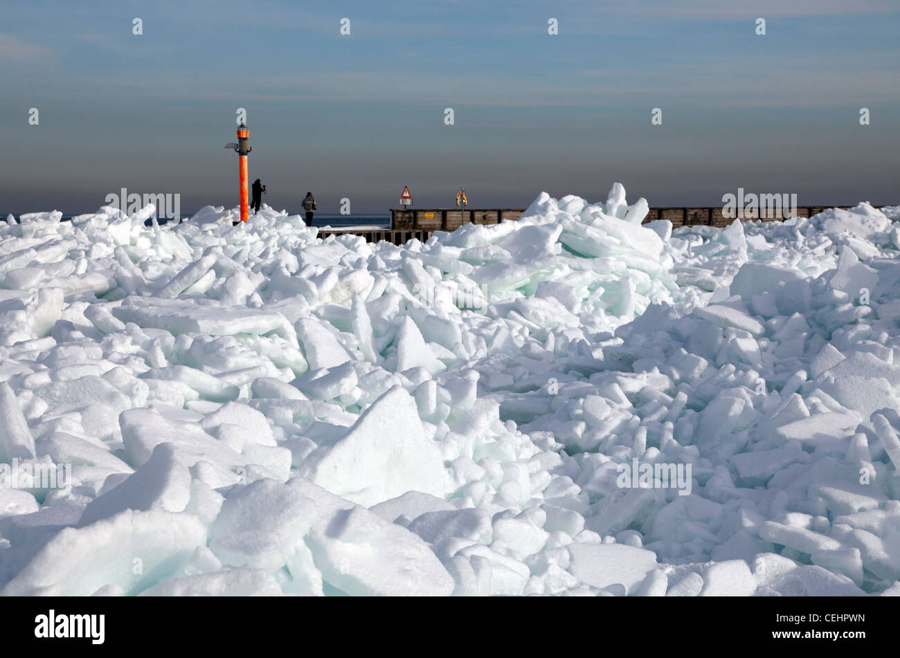 An extremely cold spell with hard frost and onshore wind has packed the ice in the Øresund (Oresund) sound - Stock Image