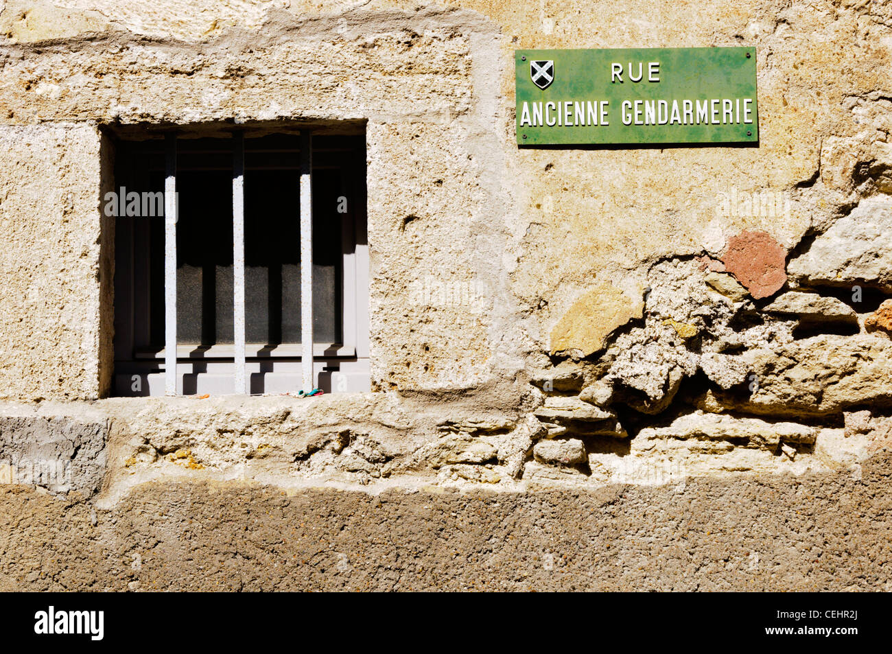 A French street name plaque for Rue Ancienne Gendarmerie. - Stock Image