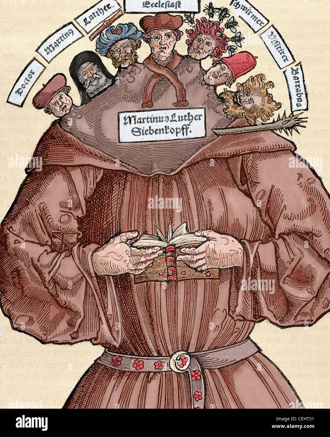 Protestant Reformation. 16th century. Germany. Satire against Martin Luther  (1483-1546). Colored engraving.