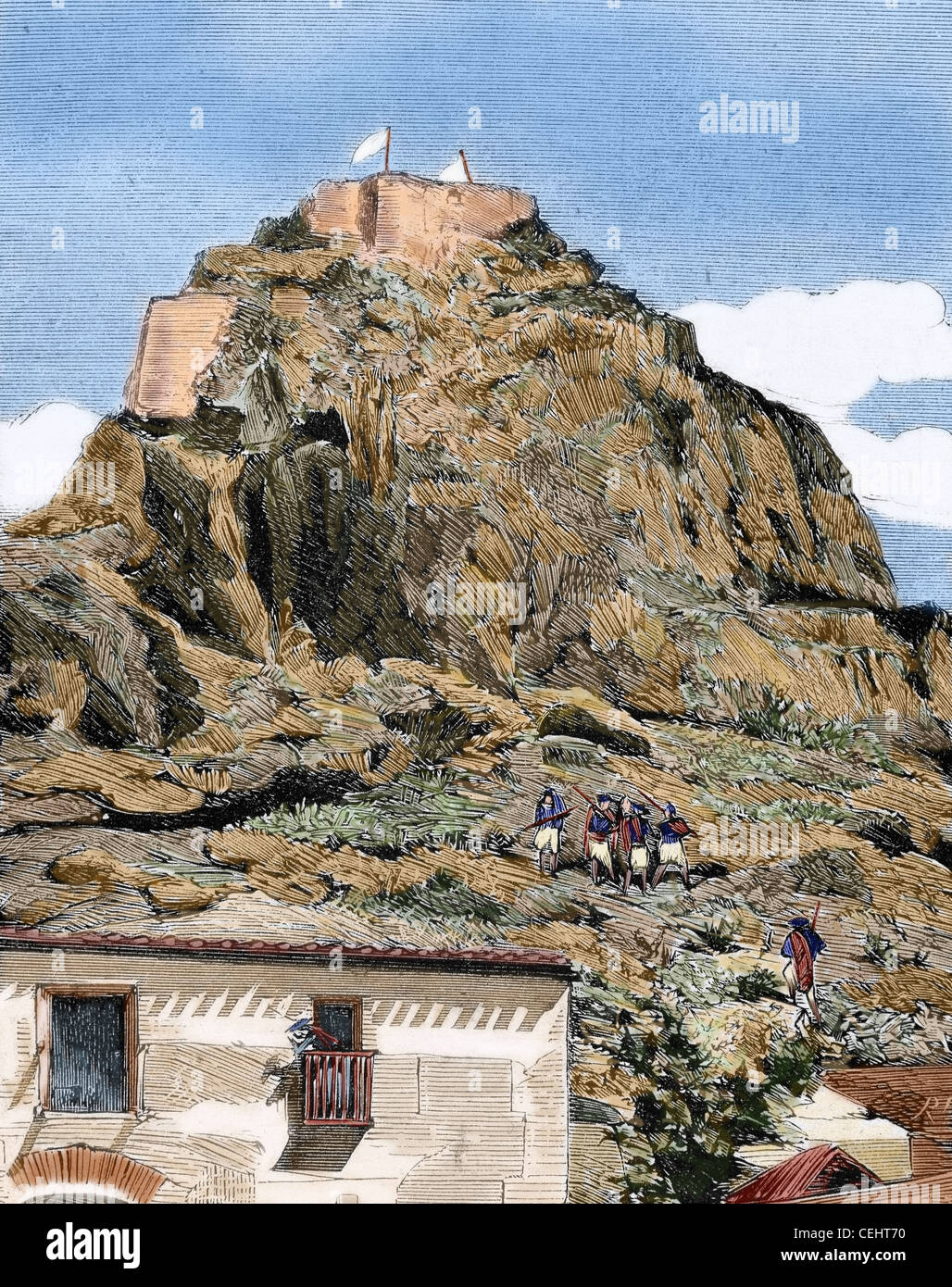 History of Spain. 19th century. Cantonal Revolution. Monteagudo (Murcia), center of the uprising. Engraving by Rico. Stock Photo