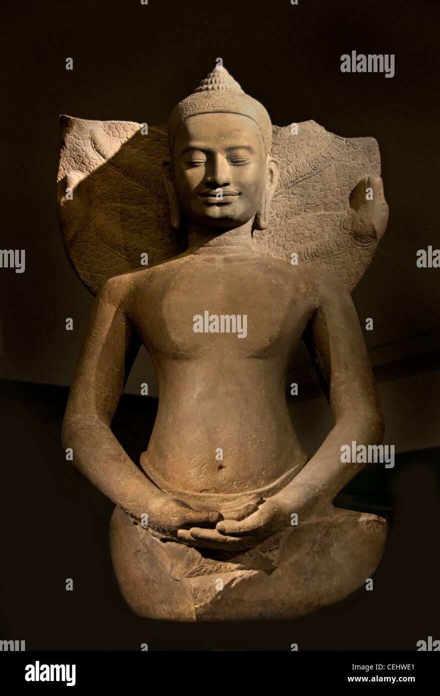Buddha protected by the Naga 12 - 13th century Bayon style Preah Khan Kompong Svay Cambodian Cambodia - Stock Image