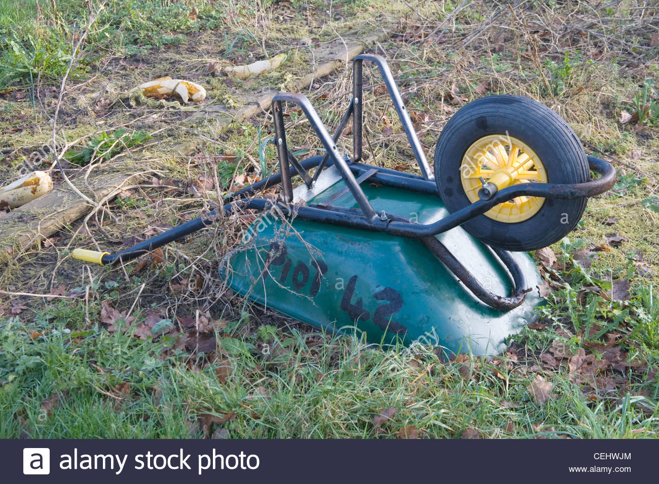 burgess hill allotment wheelbarrows in January - Stock Image