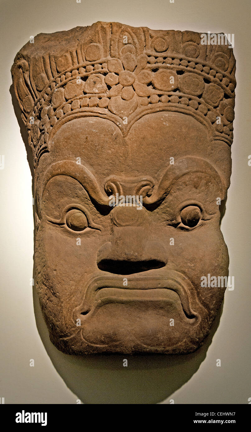 Asura ( demon gods god ) 12 - 13 Century Cambodia Bayon style - Stock Image