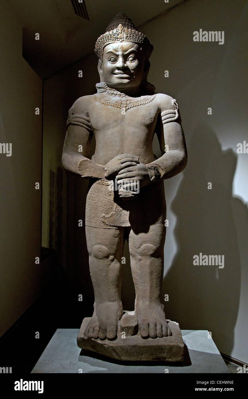 Dvarapala -  gate guardian warrior  fearsome asura giant 12 - 13 Century Cambodia Bayon style - Stock Image