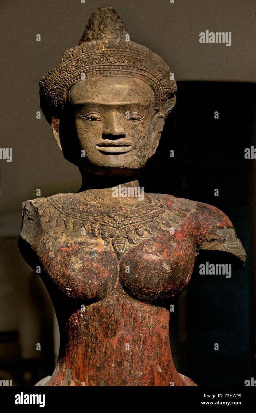 female divinity  Angkor Vat 12 Century Cambodia - Stock Image