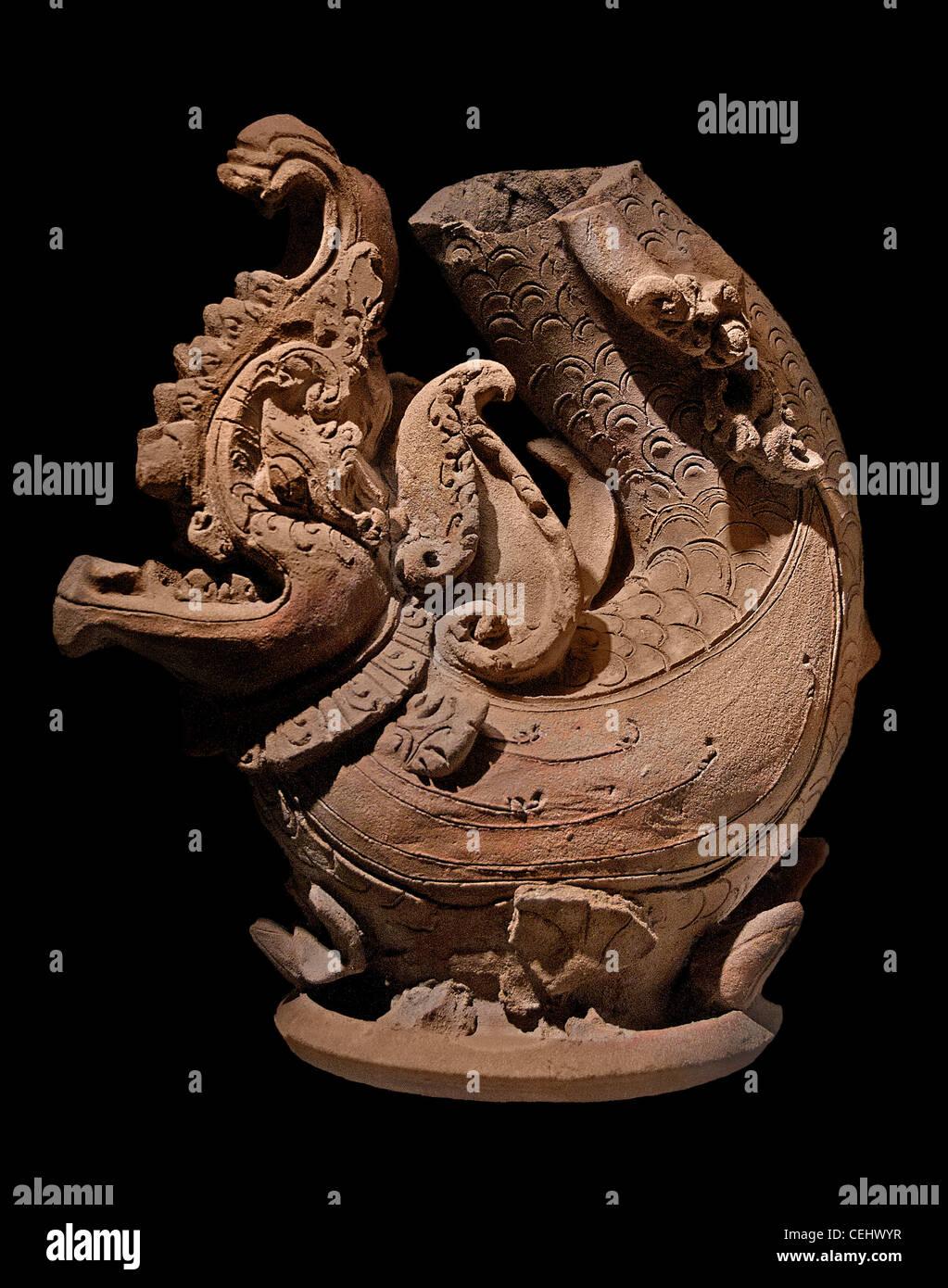 Makara - Trawulan Mojopahit art east Java 14 - 15 century  Indonesia pottery - Stock Image