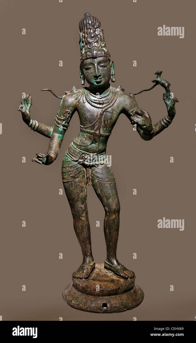 Shiva Hindu master of music bronze 11th century AD Chola dynasty Tamil Nadu India - Stock Image