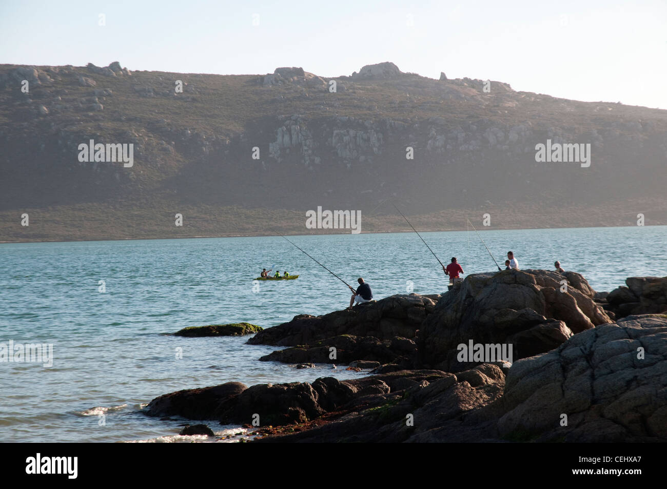 Man with canoe,Knysna,Garden Route, Western Cape Province - Stock Image