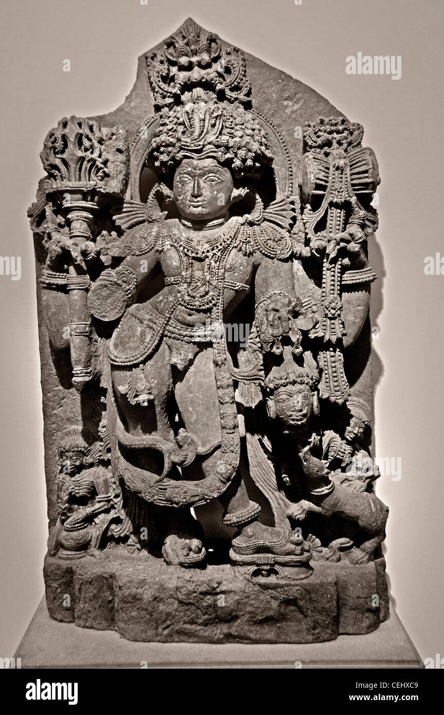 Terrible form of Siva Shiva Bhairava Karnataka  Hoysala period India 12 Century - Stock Image