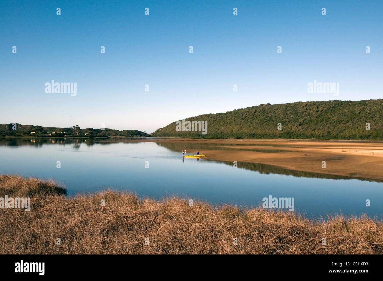 Canoe on water,Sedgefield,Garden Route,Western Cape Province - Stock Image