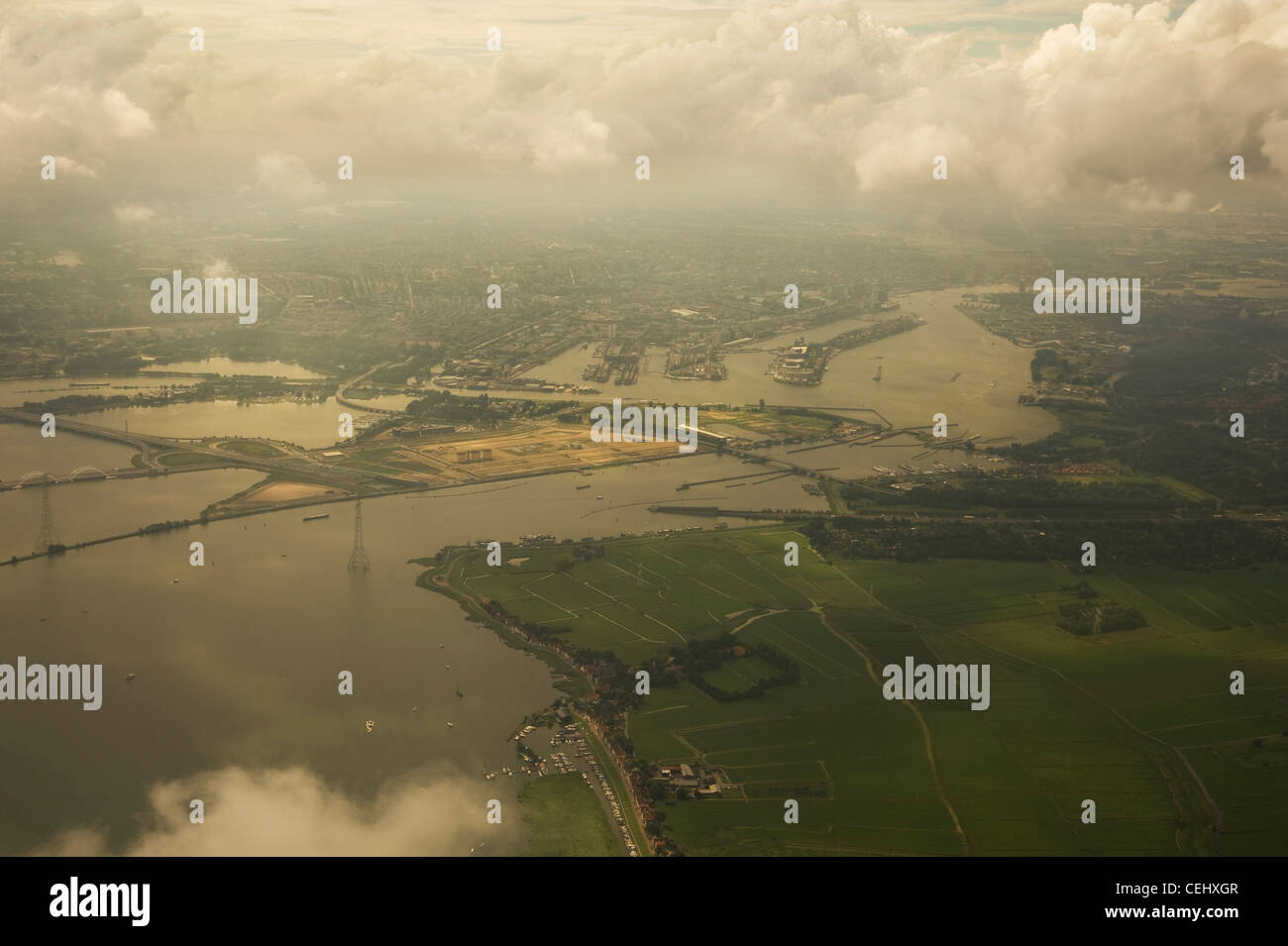 Aerial view of the eastern old harbour area of Amsterdam, Netherlands - Stock Image