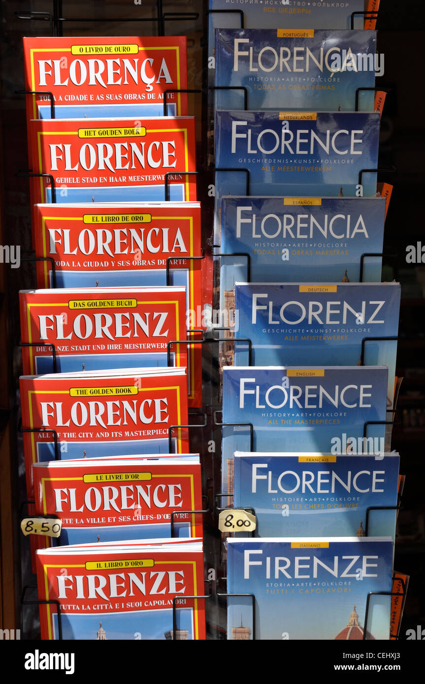 Guide books for sale, Florence, Italy, Europe - Stock Image