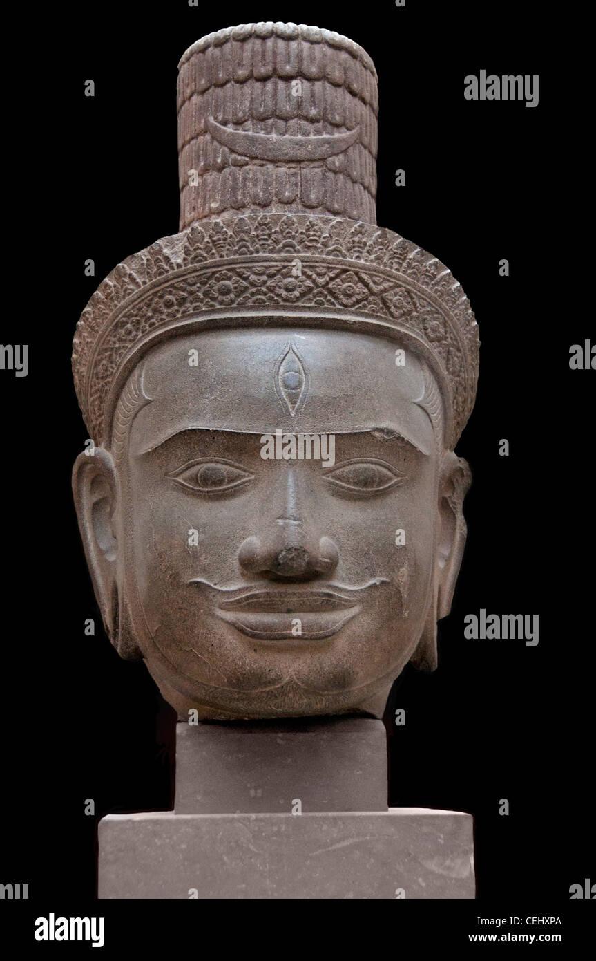Shiva Hindu god sandstone 10th century Cambodian  Bakheng style Khmer Cambodia - Stock Image
